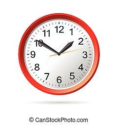 clock in red vector illustration