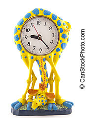 clock in the form of a giraffe on a white background
