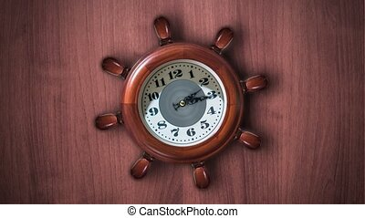 Clock in the shape of a ship's helm