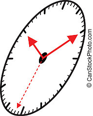 Clock in the shape of an ellips, vector