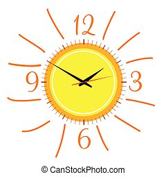 clock in the sun illustration vector two