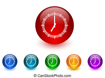clock internet icons colorful set