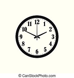 clock isolated on white background, silhouette, icon vector illustration