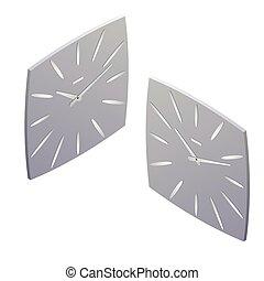 Clock isometric illustration. clock design concept. Flat 3d Vector illustration.