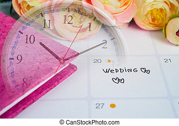 clock., jour, stylo, planification, mariage, rappel, calendrier