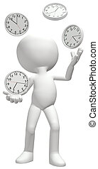Clock juggler juggles clocks to manage time schedule - A...
