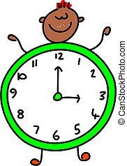 clock kid - happy little asian boy dressed up as a clock ...