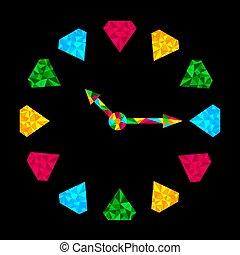 clock., kleurrijke, diamant