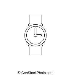 Clock line icon isolated white background. Vector