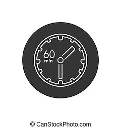 Clock line icon. sign 60 min. Vector on white in modern flat...