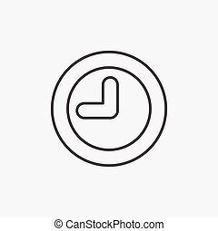 Clock. Line Icon. Watch, Time Sign isolated on white background. Flat design style. Vector illustration for web, mobile app