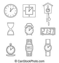 Clock line icons.
