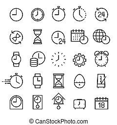 Clock line icons set. Vector illustrations.