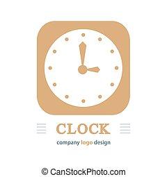 clock logo brown color