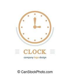 clock logo template brown color