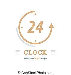 clock logo vector brown color
