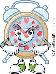 Clock love mascot cartoon character style with Smirking face