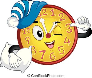 Clock Mascot Afternoon Nap Time Illustration