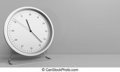 Clock measures one hour from 11:00 till 12:00. 3D animation...
