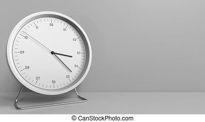 Clock measures one hour from 3:00 till 4:00. 3D animation -...