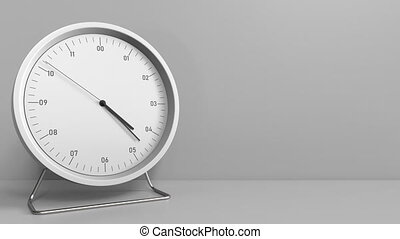 Clock measures one hour from 4:00 till 5:00. 3D animation -...