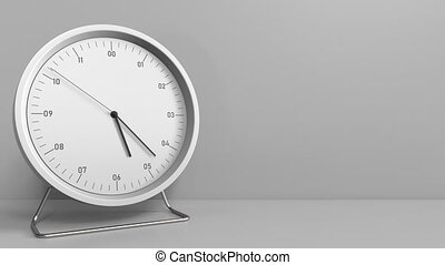 Clock measures one hour from 5:00 till 6:00. 3D animation -...