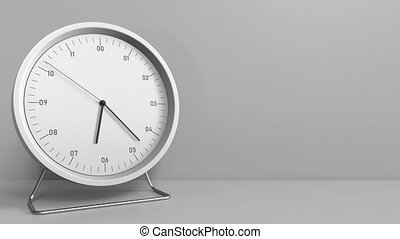 Clock measures one hour from 6:00 till 7:00. 3D animation -...