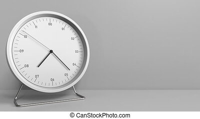 Clock measures one hour from 7:00 till 8:00. 3D animation -...