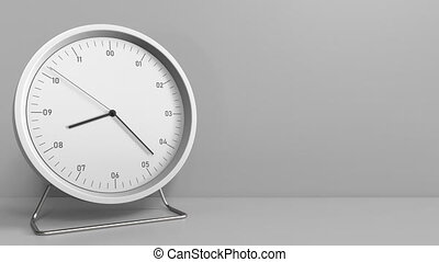 Clock measures one hour from 8:00 till 9:00. 3D animation -...