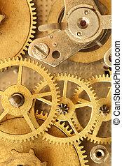 Clock Mechanism - Closeup of vintage brass clock mechanism....