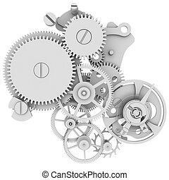 Clock mechanism. Isolated render on a white background