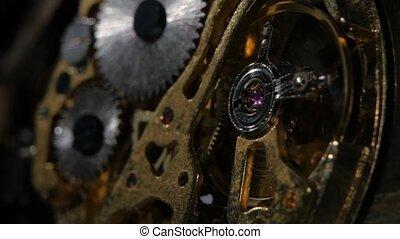 Clock mechanism. Gears. Close up