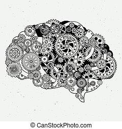 Clock mechanism in human brain. Different cogwheels of steel. Vector hand drawn illustrations