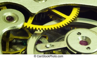 Clock Mechanism Works. Timelapse