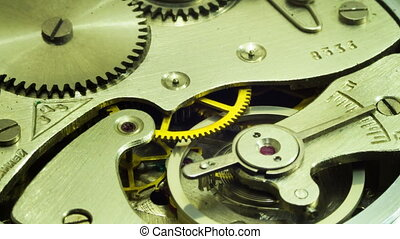 The pendulum sways, the gears are moving dismantled the old clock. Time Lapse in moving.