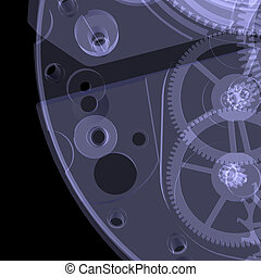 Clock mechanism. Isolated X-ray render on a black background