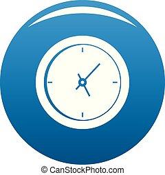 Clock minimal icon blue vector
