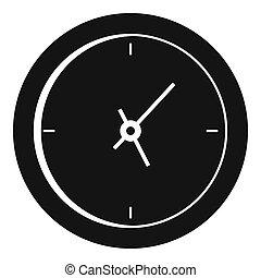 Clock minimal icon, simple black style