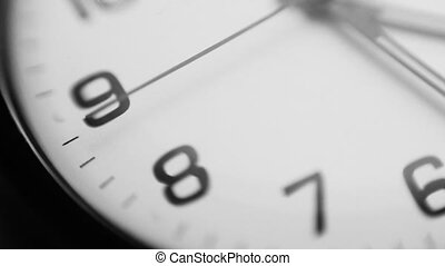 Clock minute, second and hour hands moving slow. - Clock...