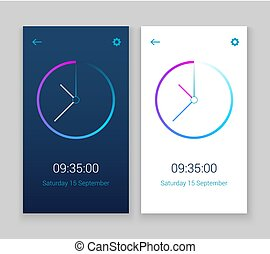 Clock Mobile App Concept Ui Design Day And Night Clock User Interface Time Vector Widget Design Modern Technology