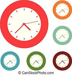 Clock modern icons circle set vector