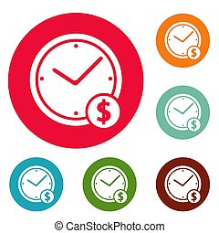Clock money icons circle set