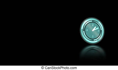 Clock moving on black background