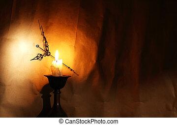 Clock Near Candle