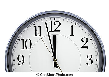 Clock (NEW YEAR concept) - isolated object on white...