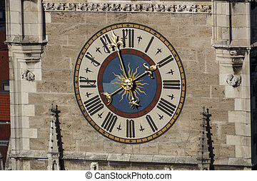 Clock of the New City Hall of Munich at Marienplatz, Germany, 2015