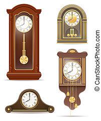 clock old retro set icon stock illustration