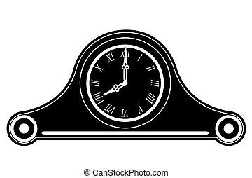 clock old retro vintage icon stock vector illustration black outline silhouette