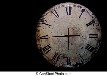 clock on a black background.