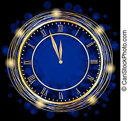 clock on a blue festive background, vector illustration